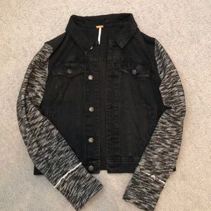 Free People Knit Hooded Denim Jacket / Size Medium
